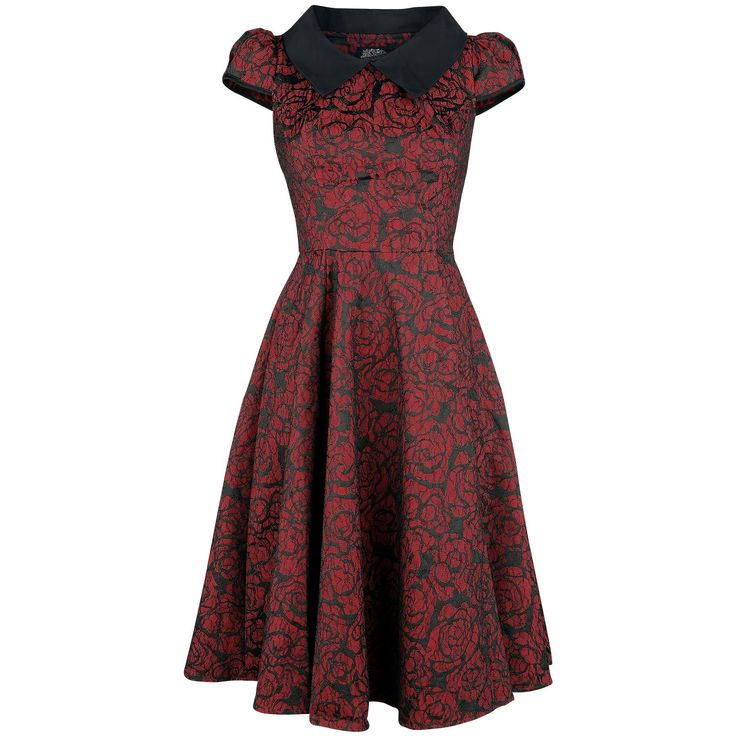 "H&R London Mittellanges Kleid, Frauen ""Regina Brocade Party Dress"" schwarz/rot • online bestellen • EMP"