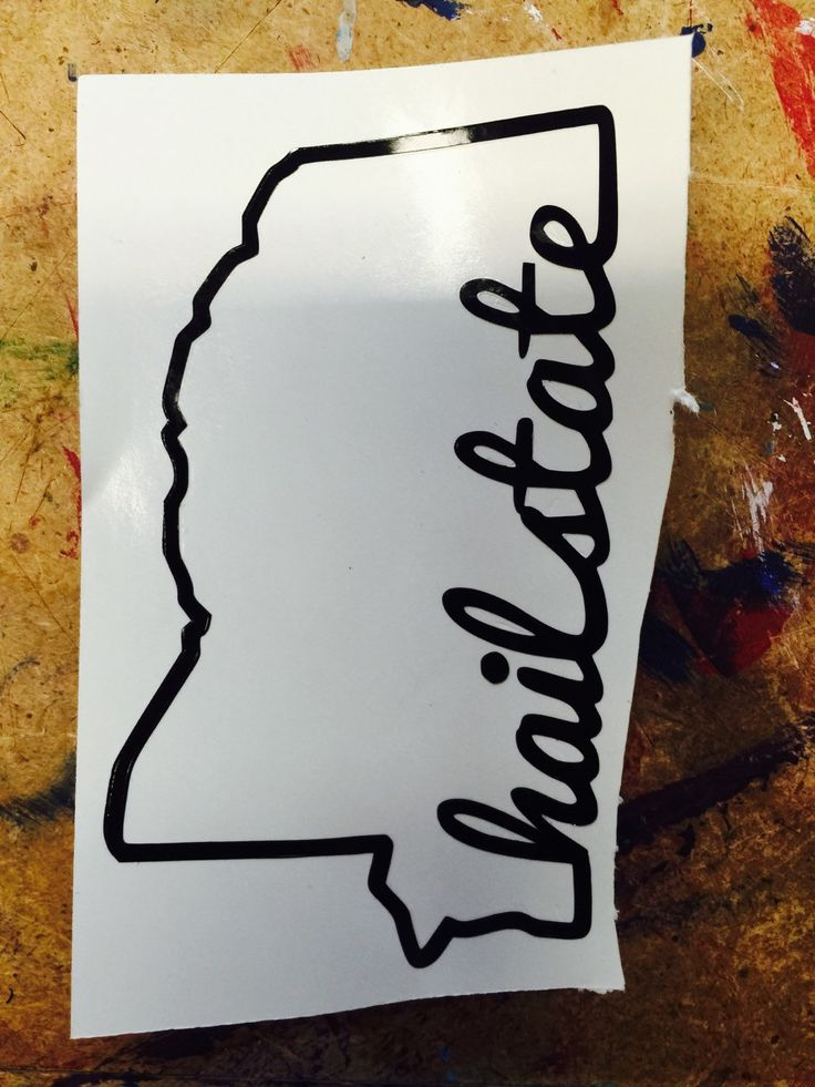 """Mississippi Outline Decal with Phrase """"Hail State"""" 3 default sizes and custom sizes available Mississippi State Decal, Computer Decal, Car by FransEverythingShop on Etsy"""