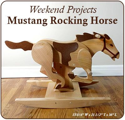 "Plan Set Description: Build a low-cost, high quality, timeless heirloom Mustang Rocking Horse over a weekend! Rocking Horse is 36"" L x 21-1/2"" H x 15-3/4"" W. Download FREE PDF Wood Toy News Mustang Building Tips. Color 8-1/2"" x 11"" pages with black & white pattern pages."