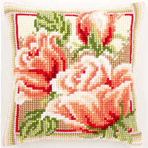 "Pair Of Roses -   Vervaco Chunky Cross Stitch Cushion Kit 16x16"" - 40 X 40cm"