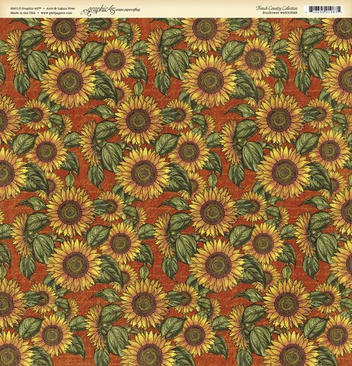 """Sunflower"" front page from our new collection French Country. In most stores in February! #graphic45 #CHAW2013 #sneakpeeks"
