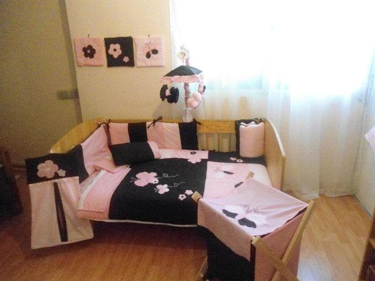 Set de cuna niñas Café y rosa