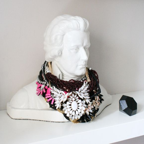 Mozart bust I found in a charity shop spray painted white. Perfect for my necklace hoard.