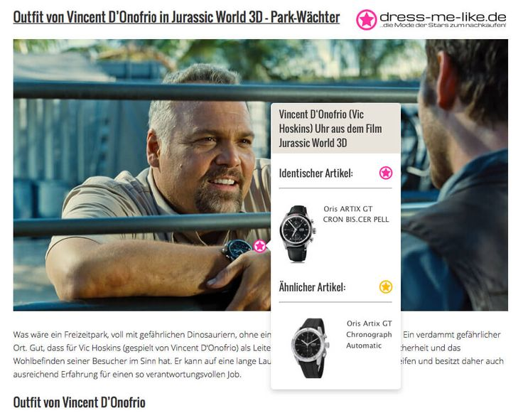 Vincent D'Onofrio (Vic Hoskins) Oris Uhr aus dem Film Jurassic World 3D