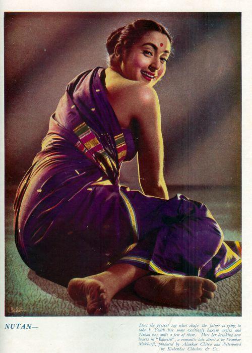 Sensuous Photograph of Hindi Movie Actress Nutan from Filmindia Magazine - 1956 - Old Indian Photos