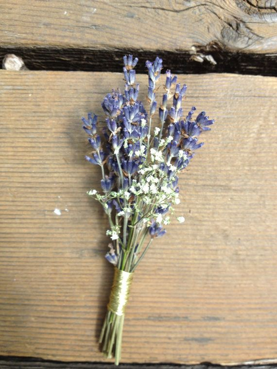 Dried lavender and baby s breath boutonniere by