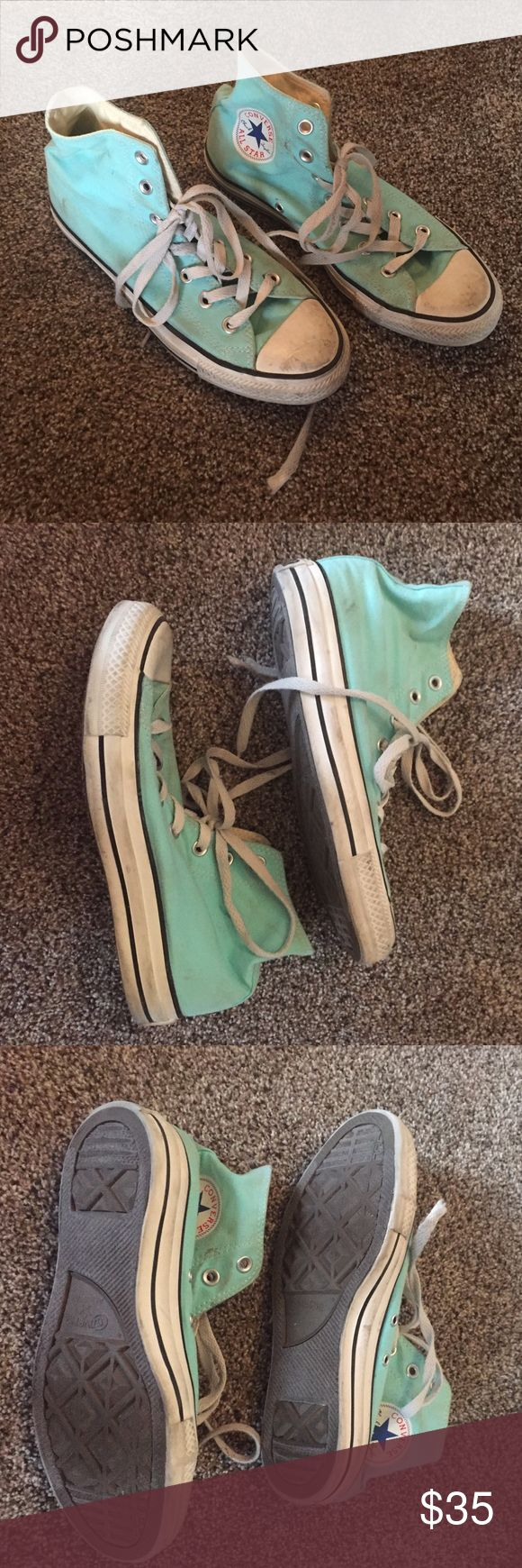 Turquoise converse high tops size 6 Great condition super cute fit more like a 7.5-8.5 super cute! Converse Shoes Sneakers