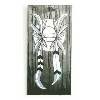 A dark and drippy background contrasts the silver moon that catches the light as you walk by. Lots of detail in the korpworm feathers and you can choose whatever colour eyes you want (as long as I have the colour)  Size: 300mm x 600mm Media: Marker pen, spray paint and a liberal splash of Indian ink on wood. Born: June 18th 2017