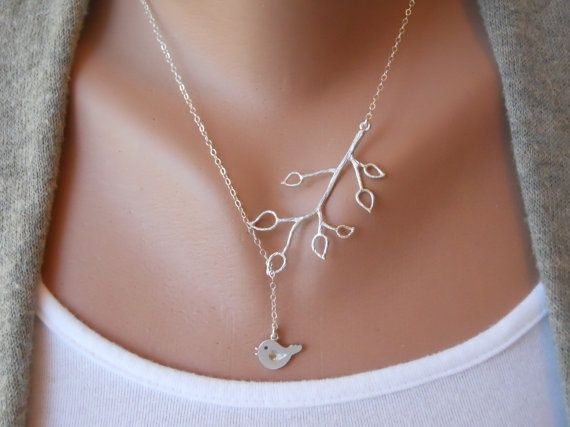 Mothers Day kathena: Branches Necklaces, Sterling Silver Chains, Mothers Day, Bud Branches, Little Birds, Birds Necklaces, Trees Branches, Cute Necklaces, Beautiful Birds