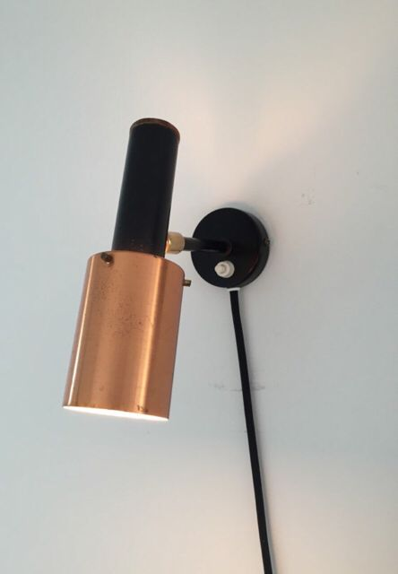 Danish vintage copper, teak and black lacquered sconce from Fog and Morup