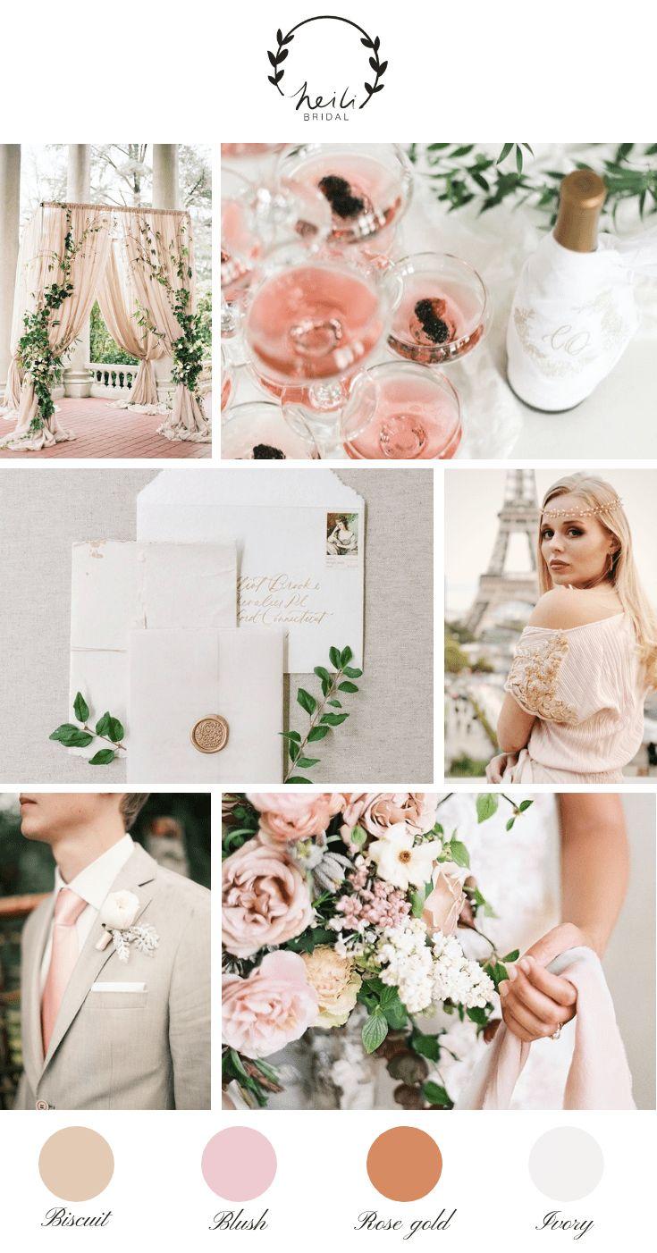 Paris erröten und Rose Gold Hochzeit Inspiration   – Heili Bridal Blog – Wedding inspiration, aesthetics and moodboards
