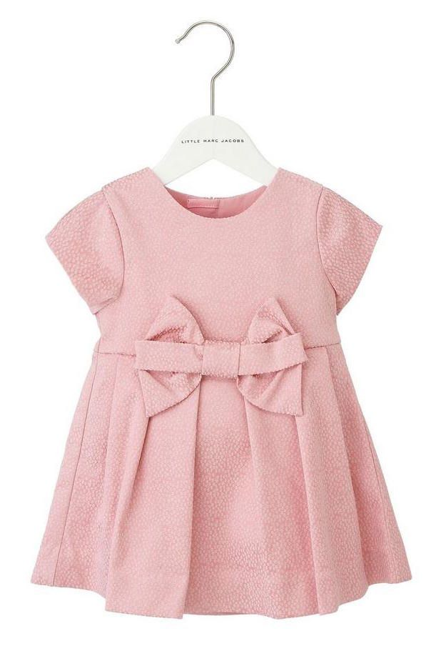 Little Marc Jacobs Satin Jacquard Dress in Ice Pink