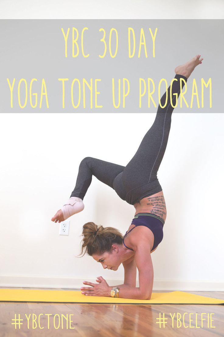 Pin now and join in on our 30 day tone up program through yoga! Wearing: MPG leggings (similar) and bra c/o. Using lole mat.