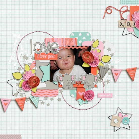 Another adorable baby layout. I just love the pursed lips! The design on the page is so eye catching. I love the light colored background with all the pops of color.