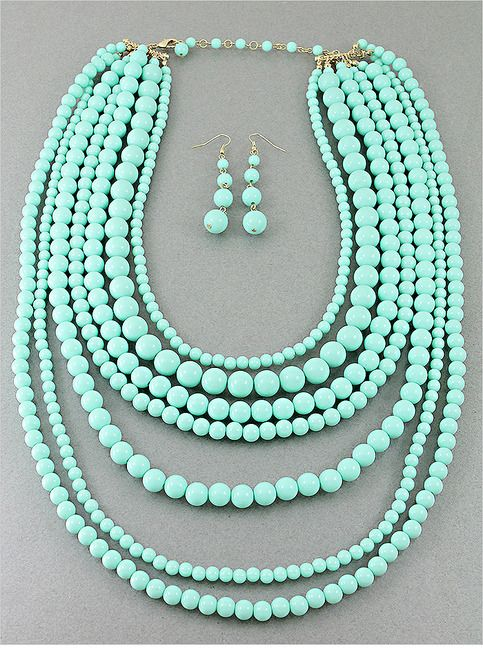 P.S. I Love You More Boutique | Mint Layered Necklace & Earring Set | Online Store Powered by Storenvy