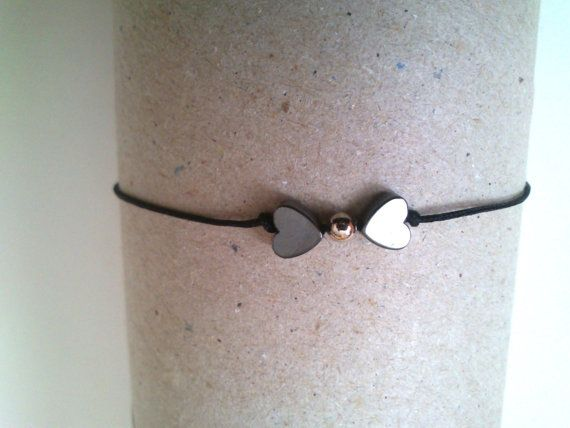 thin handmade bracelet with heart by KleopatrasCreations on Etsy