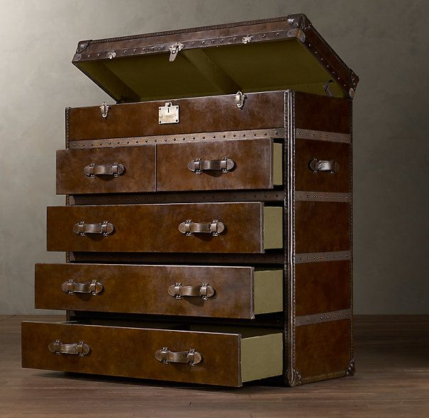 Mayfair Steamer Chest Vintage Cigar Leather $2475: Steamer Chest, Decor Ideas, Restoration Hardware, Vintage Cigars, Room Decor, Mayfair Steamer, Cigars Leather, Guest Rooms, Chest Of Drawers