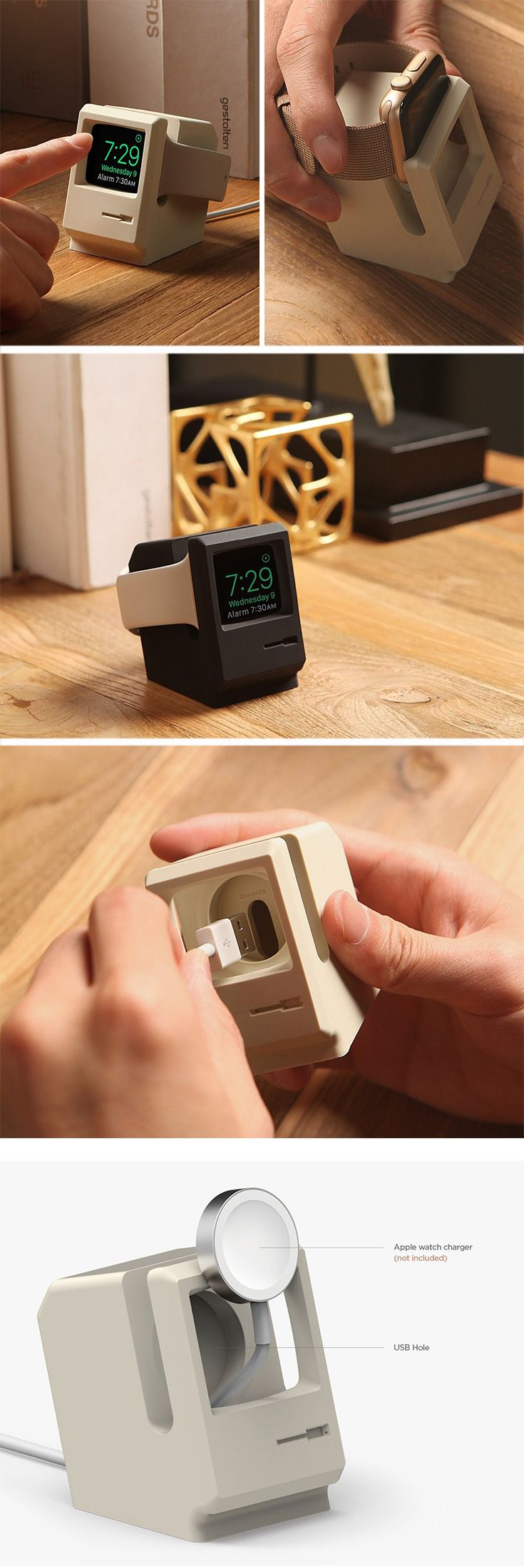 The W3 Apple Watch stand pays ode to the legendary PC, the Macintosh Computer, that put Apple on the map.