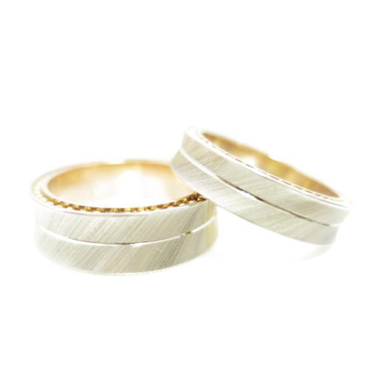 【結婚指輪|HR-37】 リングの側面にイエローゴールドのボールチェーン。 どこまでもつながっていく二人の絆を表しています。 外側・内側・側面とそれぞれ色の違うゴールドを使用した贅沢でオシャレなデザインです。 素材:K14。
