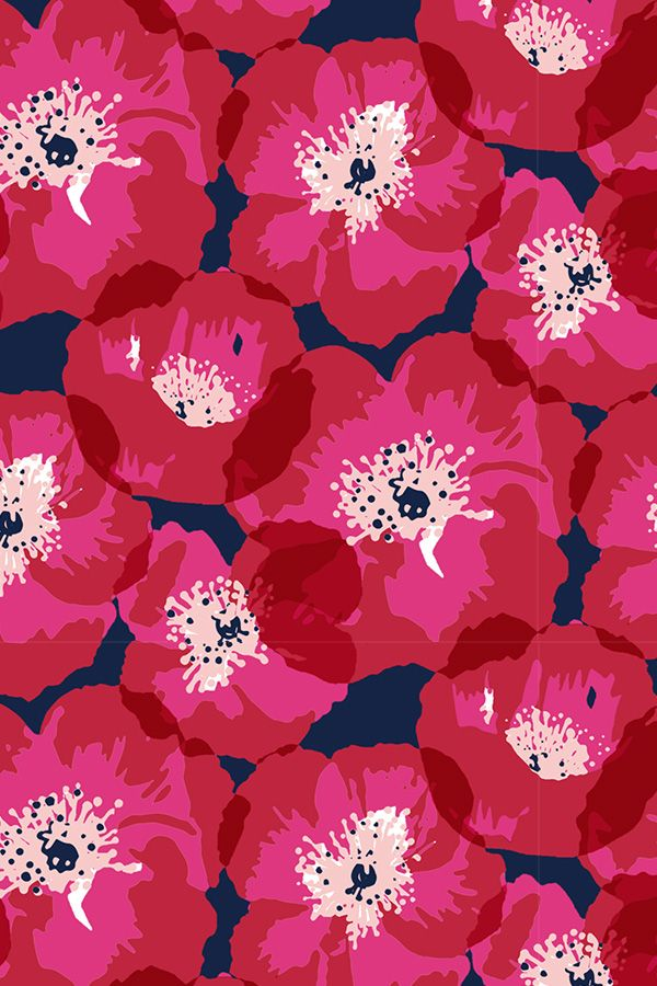 Red and Pink Poppies on Indigo by Jill Byers.