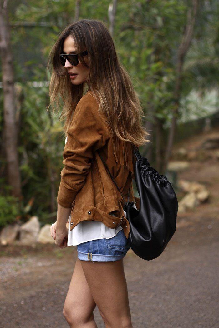 suede jacket & shorts