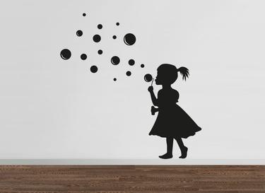 New Wallsticker Wandtattoo Girl Bubbles M dchen mit Seifenblasen