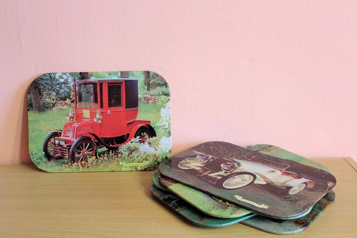 Vintage Old Car Placemats, Antique Cars Photo Coasters Set of 6, Classic Car Pictures, Table Mats by Grandchildattic on Etsy