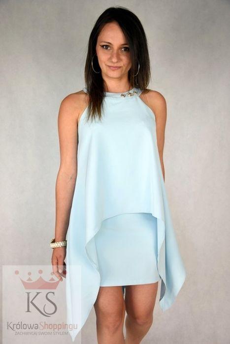 eleganckie sukienki wizytowe kreacja dwuwarstwowa niebieska