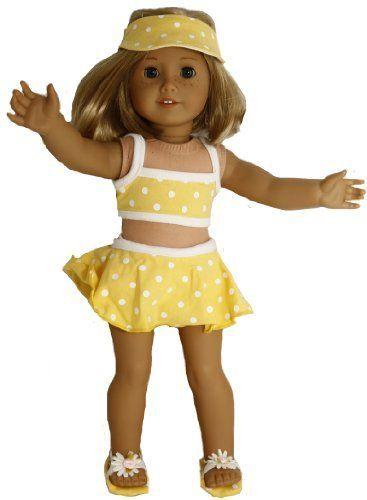 Buys By Bella's Yellow Polka Dot Bikini Set for 18 Inch Dolls Like American Girl