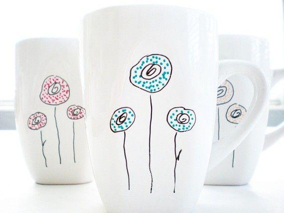 cute: Crafts Ideas, Coff Mugs, Crafts General, Hands, Drinks Coffee, Ceramics Paintings, Coffee Mugs, I Did It, Doodles Display