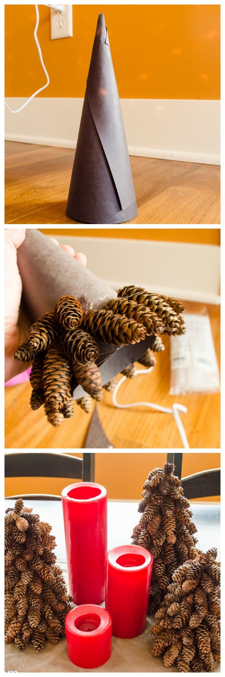 DIY pinecone Christmas trees - so easy to do, and costs next to nothing!