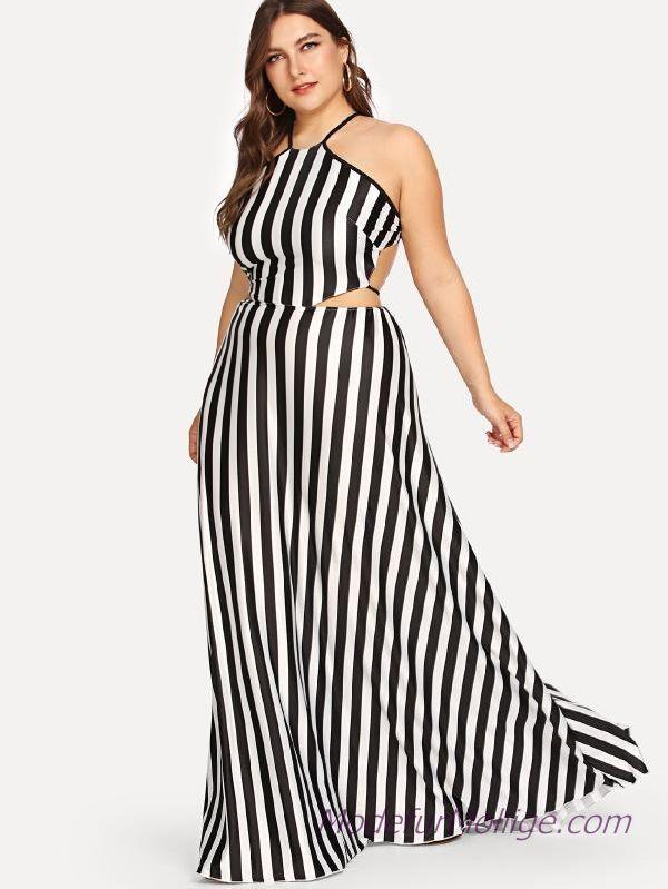Vertikal gestreiftes Neckholder Kleid Lang Große Größe Outfit Ideen für den Sommer – Mode für Mollige Frauen Stil | Mode für Mollige Frauen – #G…