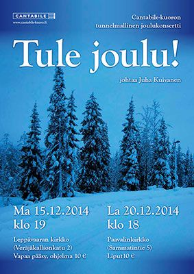 Chirstmas concert poster for Cantabile 2014. Picture taken by me.