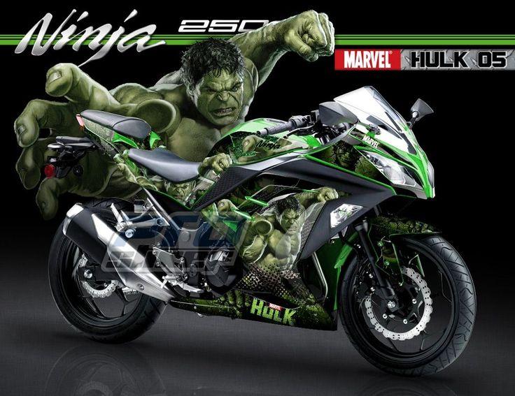 Decal Ninja 250 FI Warna Hijau Desain Kartun Motif MARVEL Super Hero Hulk 05 Hijau