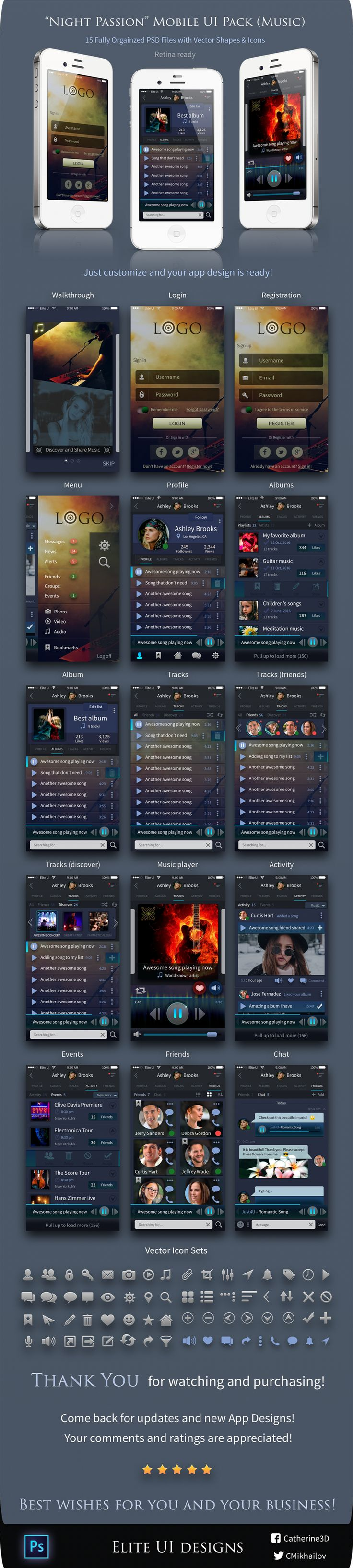 Introducing a beautiful UI kit for mobile apps! The theme of the kit is music and it should make a great music player for all music lovers out there! Please visit our website for more awesome UI / UX designs.