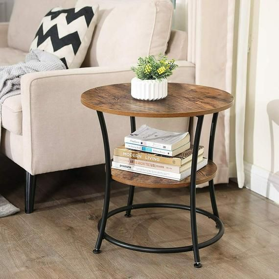 Industrial Side Table With 2 Shelves Small Round Coffee Table Vintage End Table Rustic Living Room Furniture Plant Lamp Stand Magazine Rack Living Room Side Table Rustic Side Table Living Room