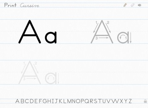 Printables English Cursive Letter A Formation For Kids 1000 images about handwritingletter formation apps on pinterest letter forms recommended ages for pre k through grade or english as a second language esl learn how to write both print and cu