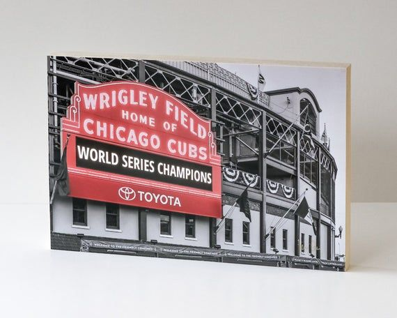 Chicago Cubs Wood Photo Block Cubs Neon Sign Wrigley Field