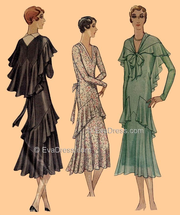dress patterns from 1929 and 1930 | 1930 Dress & Cape ...