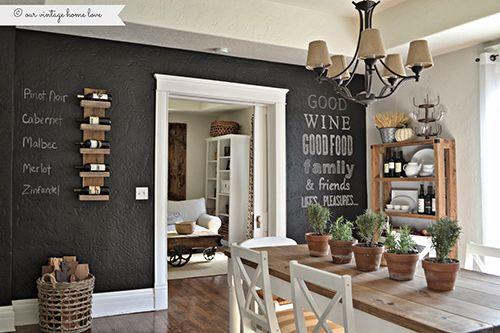 Стильный дом - Грифельная стена на кухне