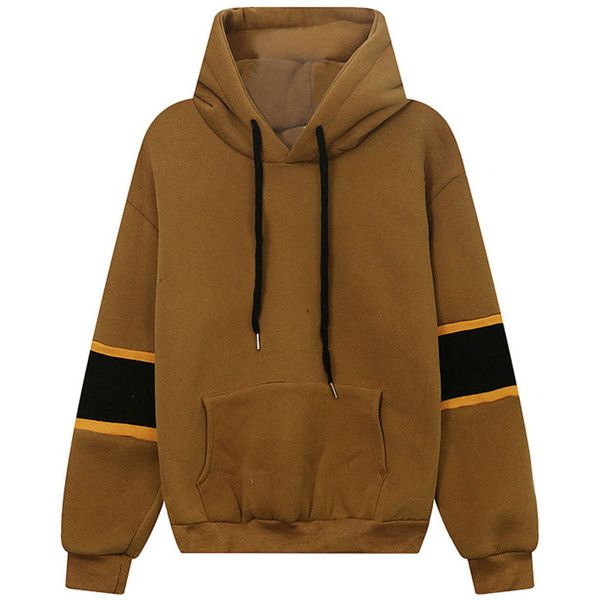 Color Block Kangaroo Pocket Letters Drawstring Hoodie ($35) ❤ liked on Polyvore featuring tops, hoodies, kangaroo pocket hoodie, sweatshirt hoodies, brown hoodies, brown hoodie and long tops