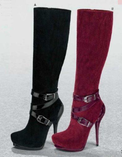 Botas de Andrea para Mujer. Botas con detalles de correa, botas tacon aguja, botas con plataforma, botas tubo largo, botas color negro y vino
