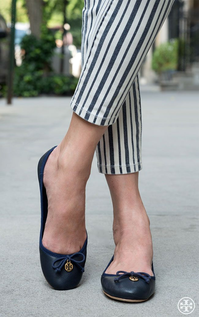 Balance statement stripes with an understated shoe — the Tory Burch Chelsea  Ballet Flat.