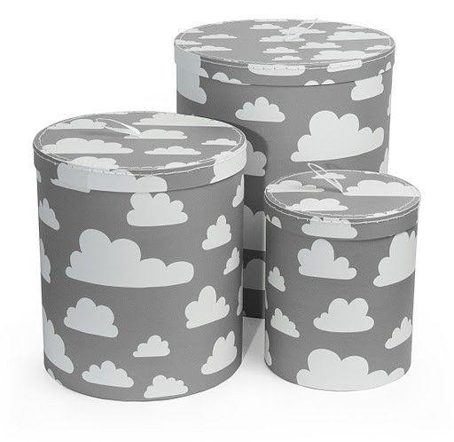 Ronde opbergdozen Wolken grijs - set van 3