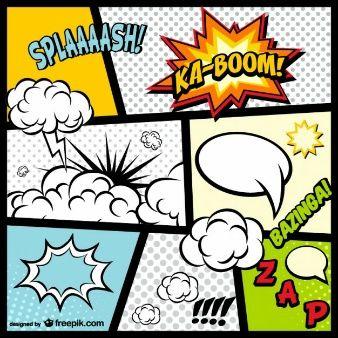 Elementos da página de quadrinhos download gratuito