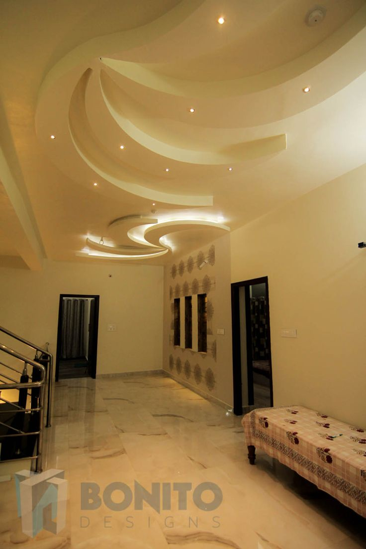 Take a look at this beautiful corridor complete with a gorgeous false ceiling? This is a view of the first floor corridor of a villa we designed in Sadashivnagar, Bangalore.