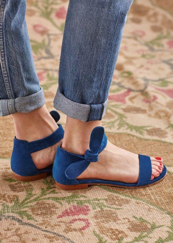 3cff94904de sandale femme en bleu turquoise plate avec un noeud de coté à porter aussi  avec des jeans