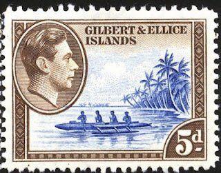 1939: Ellice Island,s Canoe (איי גילברט ואליס) (King George VI Issue (1939)) Mi:GB-GE 44,Sn:GB-GE 46