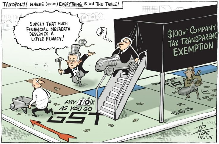 MALCOLM AND HIS ALLEGED TAX REFORM Cartoon by David Pope.