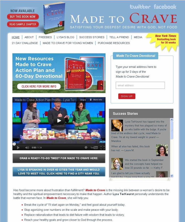 New book website created for New York Times bestselling author, Lysa TerKeurst. This website drew over 100,000 unique visitors in the first month! http://www.MadeToCrave.org